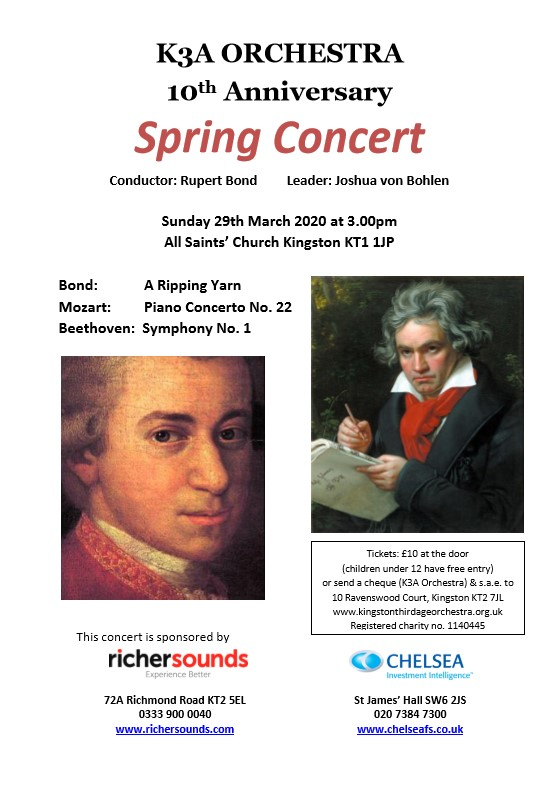 2020 Spring Concert 29 March 3 pm. Bond: A Ripping Yarn, Mozart: Piano Concert No 22, Beethoven: Symphony No 1